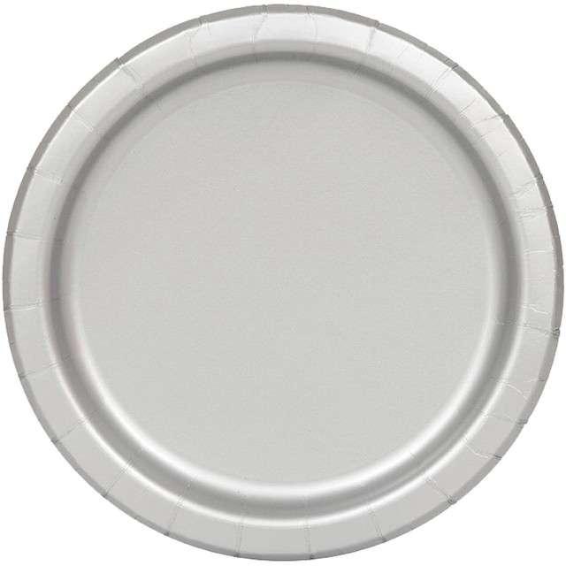 "Talerzyki papierowe ""Classic"", srebrne, UNIQUE, 23 cm, 16 szt"