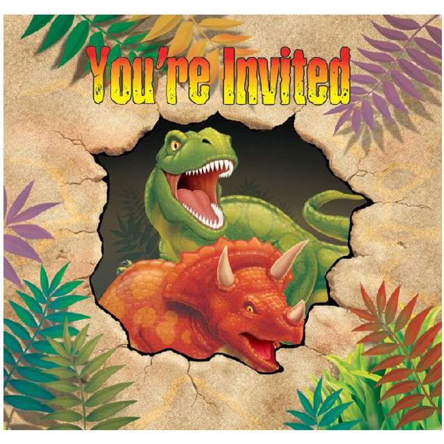 "Zaproszenia urodzinowe ""Dinozaur"", CreativeConverting, 8 szt"
