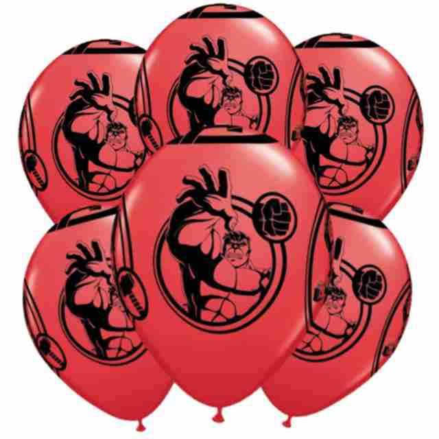 """Balony """"Avengers"""", pastel czerwony, QUALATEX, 12"""", 6 szt"""