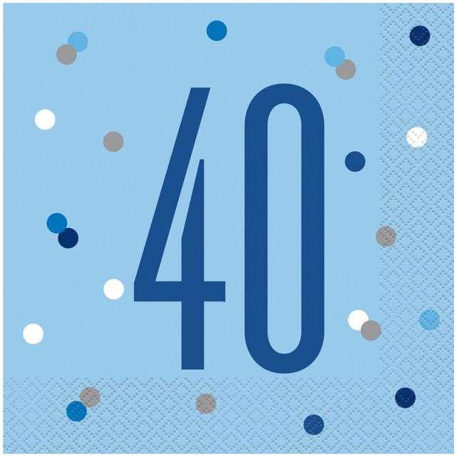 """Serwetki """"40 urodziny - Glitz Grochy"""", niebieskie, UNIQUE, 33 cm, 16 szt"""