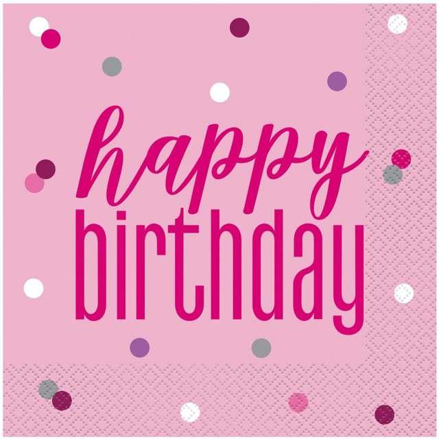 """Serwetki """"Happy Birthday- Glitz Grochy"""", różowe, UNIQUE, 33 cm, 16 szt"""