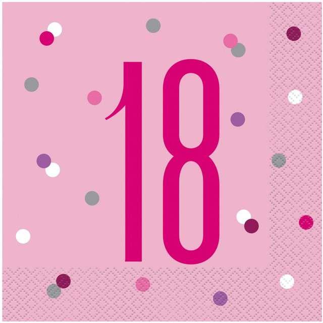 """Serwetki """"18 urodziny - Glitz Grochy"""", różowe, UNIQUE, 33 cm, 16 szt"""