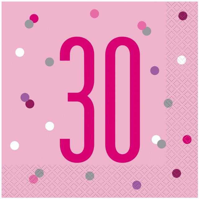 """Serwetki """"30 urodziny - Glitz Grochy"""", różowe, UNIQUE, 33 cm, 16 szt"""