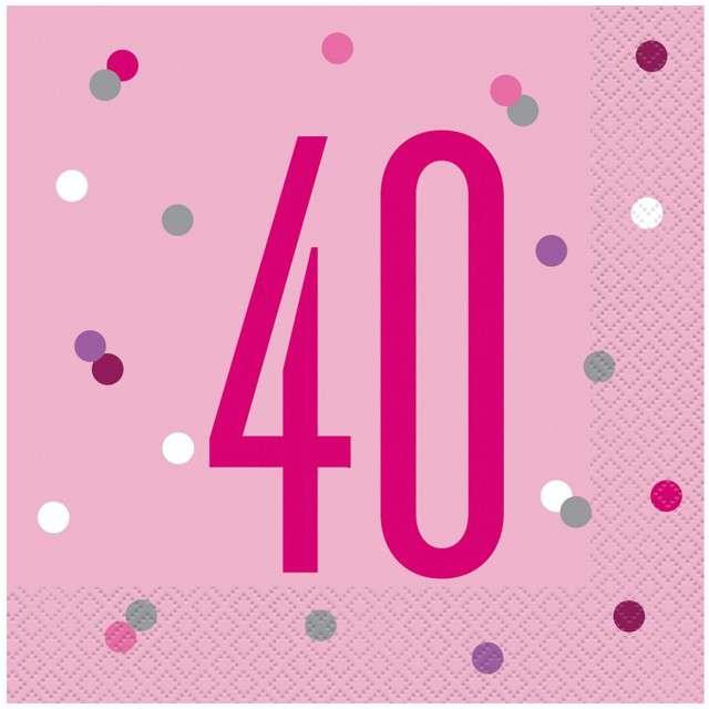 """Serwetki """"40 urodziny - Glitz Grochy"""", różowe, UNIQUE, 33 cm, 16 szt"""