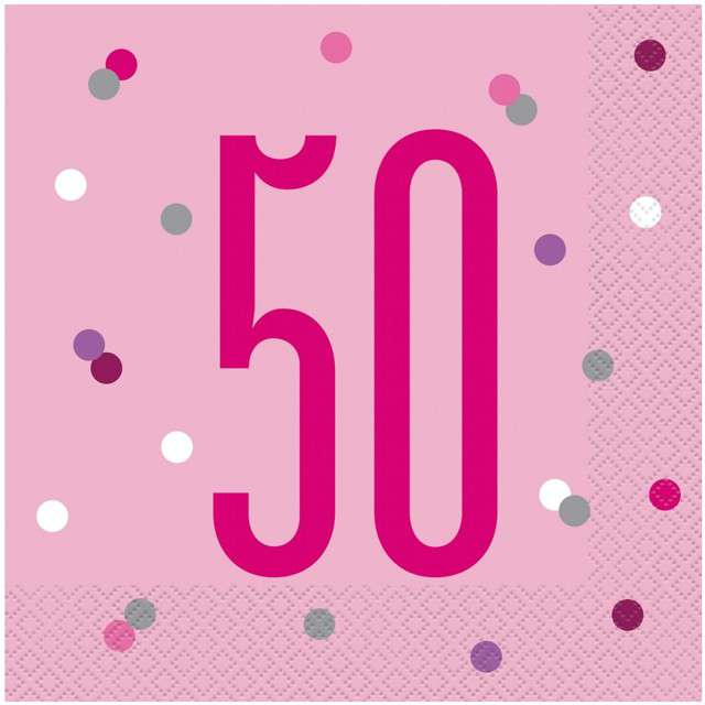 """Serwetki """"50 urodziny - Glitz Grochy"""", różowe, UNIQUE, 33 cm, 16 szt"""