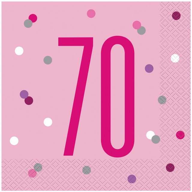 """Serwetki """"70 urodziny - Glitz Grochy"""", różowe, UNIQUE, 33 cm, 16 szt"""