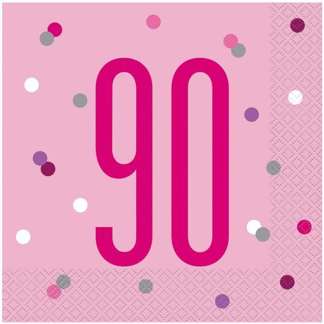 """Serwetki """"90 urodziny - Glitz Grochy"""", różowe, UNIQUE, 33 cm, 16 szt"""
