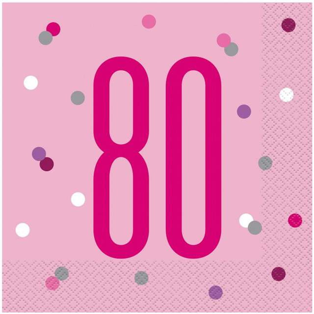 """Serwetki """"80 urodziny - Glitz Grochy"""", różowe, UNIQUE, 33 cm, 16 szt"""