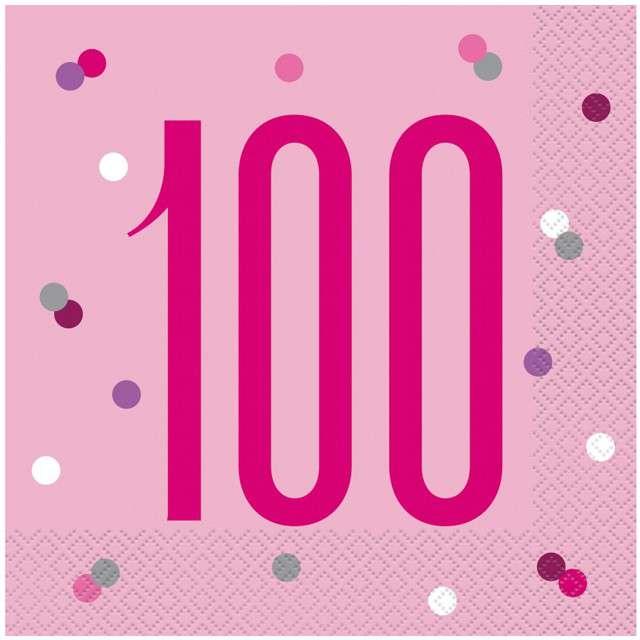 """Serwetki """"100 urodziny - Glitz Grochy"""", różowe, UNIQUE, 33 cm, 16 szt"""