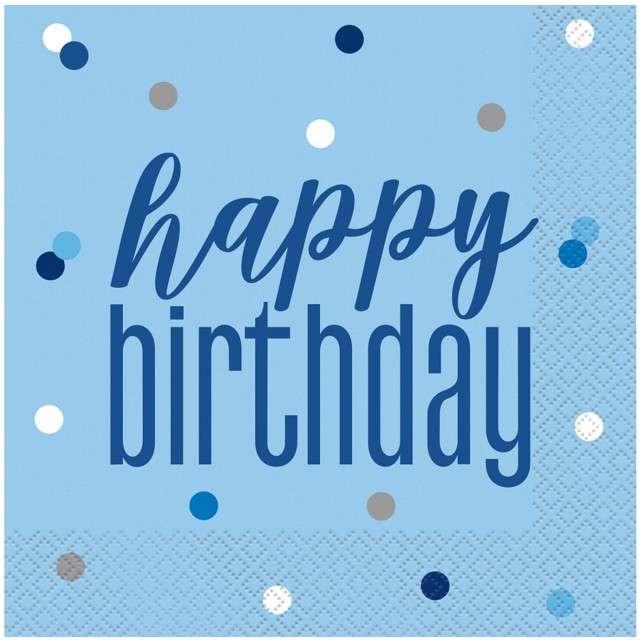 """Serwetki """"Happy Birthday- Glitz Grochy"""", niebieskie, UNIQUE, 33 cm, 16 szt"""