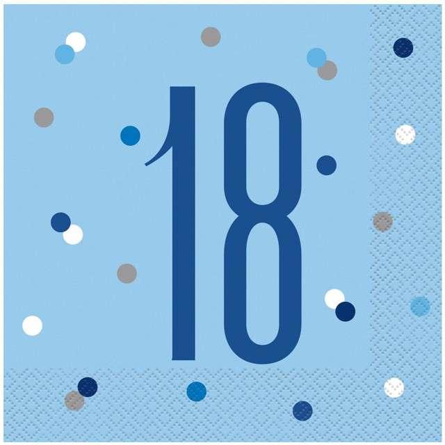 """Serwetki """"18 urodziny - Glitz Grochy"""", niebieskie, UNIQUE, 33 cm, 16 szt"""