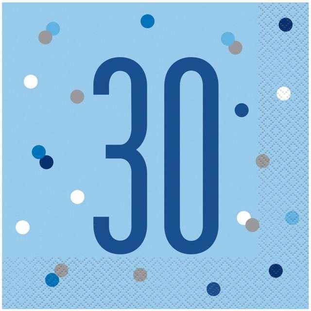 """Serwetki """"30 urodziny - Glitz Grochy"""", niebieskie, UNIQUE, 33 cm, 16 szt"""