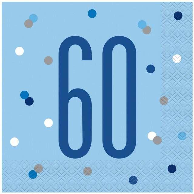 """Serwetki """"60 urodziny - Glitz Grochy"""", niebieskie, UNIQUE, 33 cm, 16 szt"""