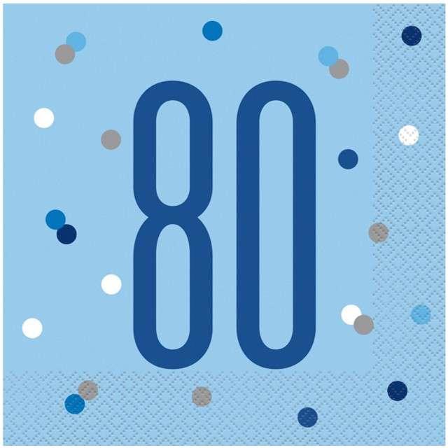 """Serwetki """"80 urodziny - Glitz Grochy"""", niebieskie, UNIQUE, 33 cm, 16 szt"""