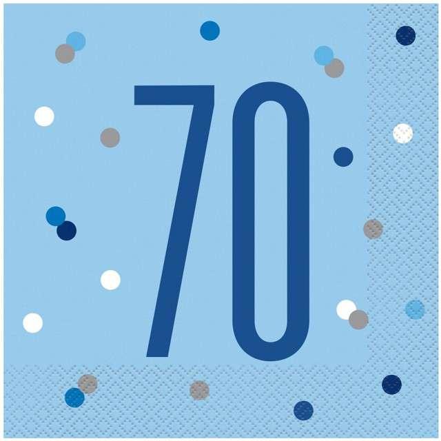 """Serwetki """"70 urodziny - Glitz Grochy"""", niebieskie, UNIQUE, 33 cm, 16 szt"""
