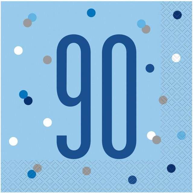"""Serwetki """"90 urodziny - Glitz Grochy"""", niebieskie, UNIQUE, 33 cm, 16 szt"""