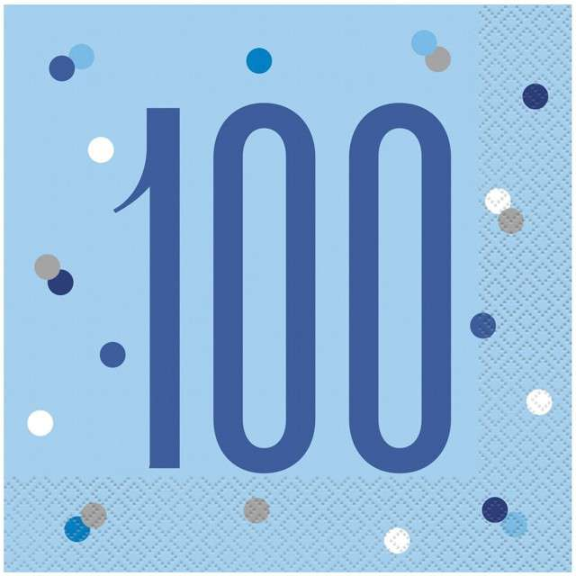 """Serwetki """"100 urodziny - Glitz Grochy"""", niebieskie, UNIQUE, 33 cm, 16 szt"""