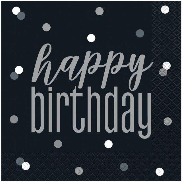 """Serwetki """"Happy Birthday - Glitz Grochy"""", czarne, UNIQUE, 33 cm, 16 szt"""