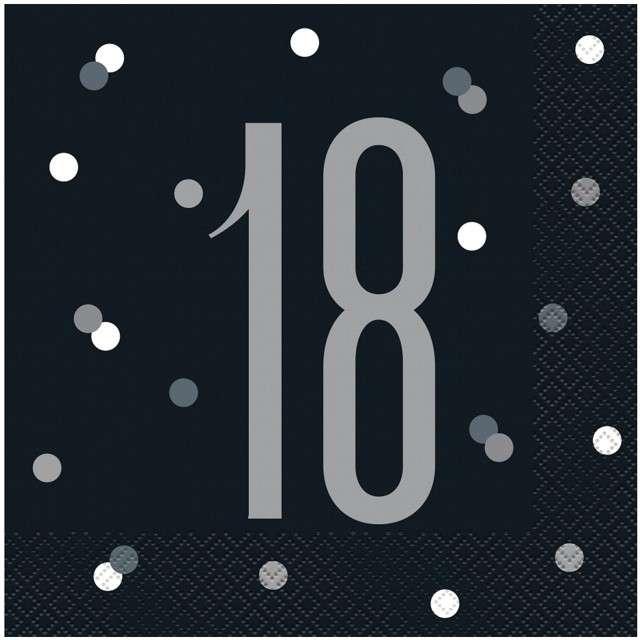 """Serwetki """"18 urodziny - Glitz Grochy"""", czarne, UNIQUE, 33 cm, 16 szt"""
