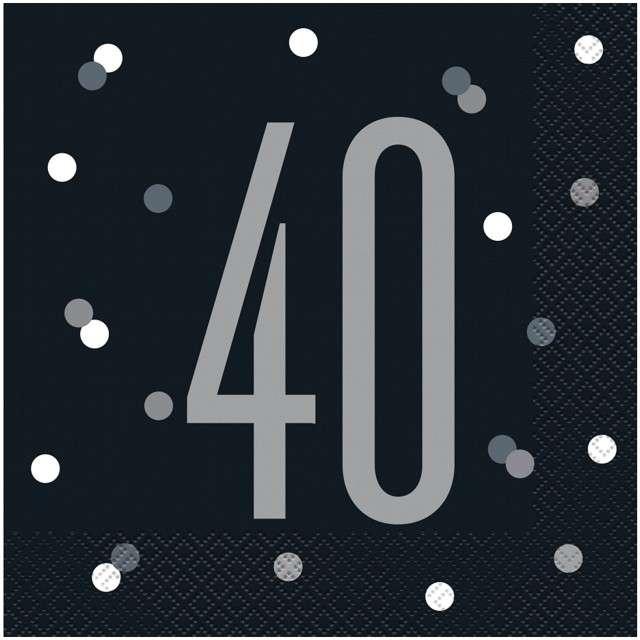"""Serwetki """"40 urodziny - Glitz Grochy"""", czarne, UNIQUE, 33 cm, 16 szt"""