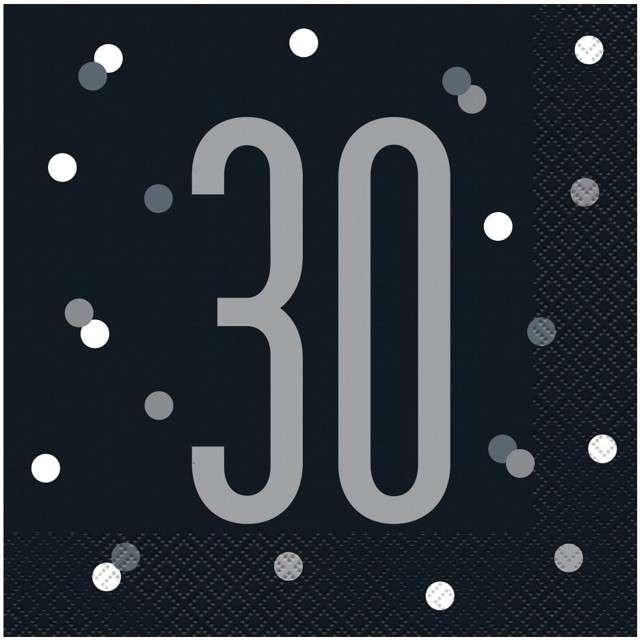 """Serwetki """"30 urodziny - Glitz Grochy"""", czarne, UNIQUE, 33 cm, 16 szt"""