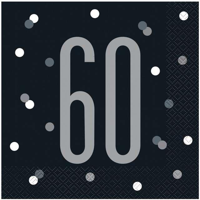 """Serwetki """"60 urodziny - Glitz Grochy"""", czarne, UNIQUE, 33 cm, 16 szt"""
