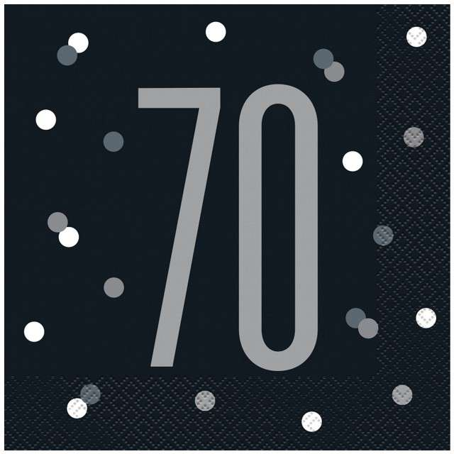 """Serwetki """"70 urodziny - Glitz Grochy"""", czarne, UNIQUE, 33 cm, 16 szt"""