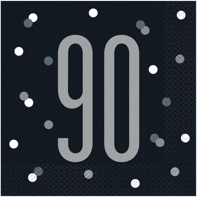 """Serwetki """"90 urodziny - Glitz Grochy"""", czarne, UNIQUE, 33 cm, 16 szt"""