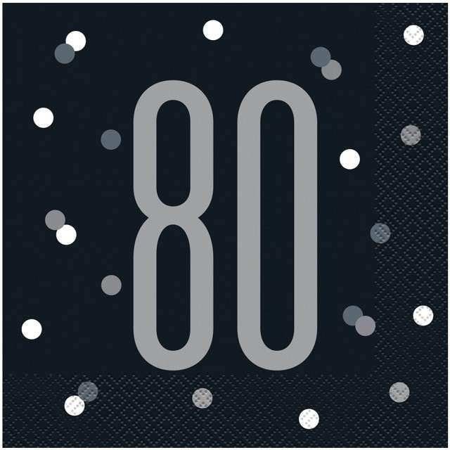 """Serwetki """"80 urodziny - Glitz Grochy"""", czarne, UNIQUE, 33 cm, 16 szt"""