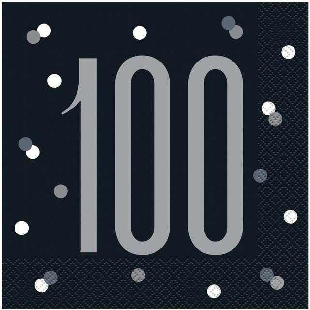 """Serwetki """"100 urodziny - Glitz Grochy"""", czarne, UNIQUE, 33 cm, 16 szt"""