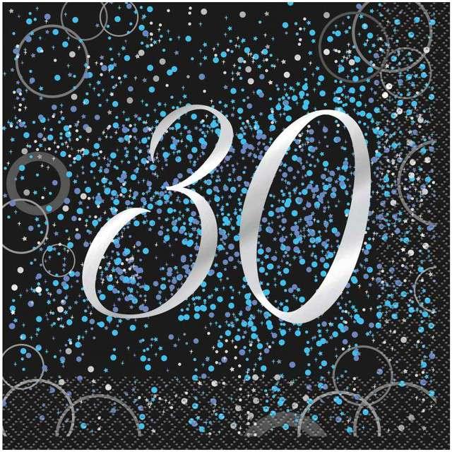 """Serwetki """"30 urodziny - Glitz"""", UNIQUE, niebieskie, 33 cm, 16 szt"""