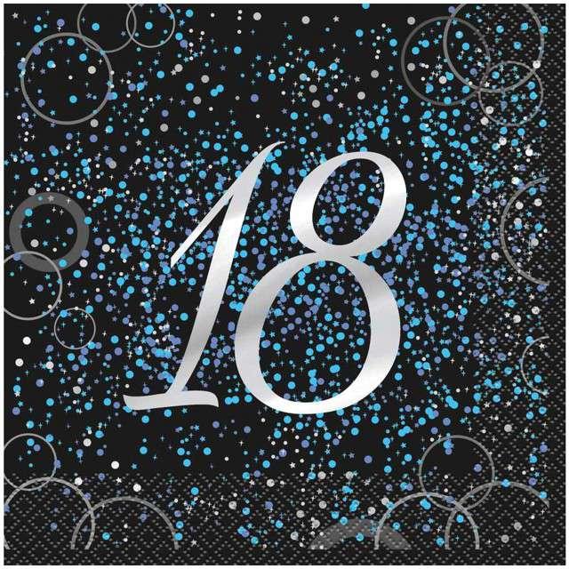 """Serwetki """"18 urodziny - Glitz"""", UNIQUE, niebieskie, 33 cm, 16 szt"""