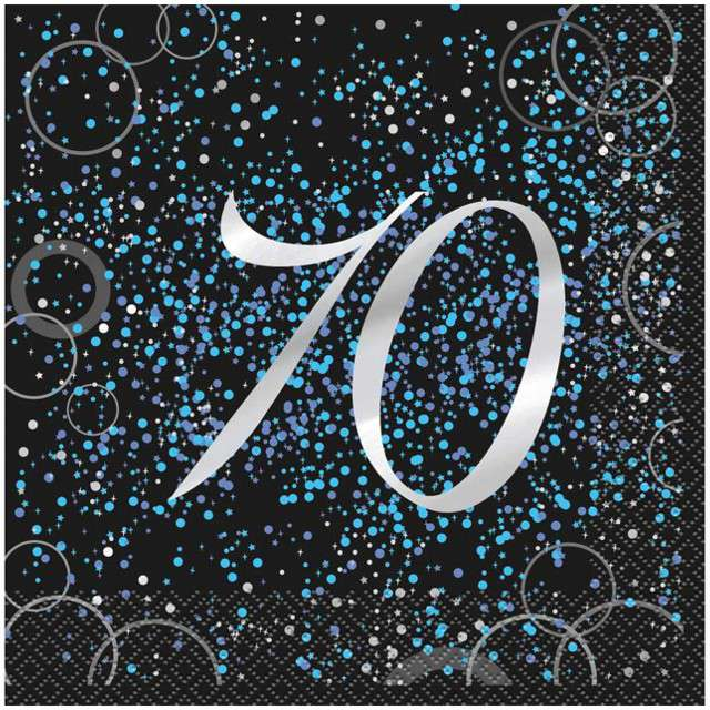 """Serwetki """"70 urodziny - Glitz"""", UNIQUE, niebieskie, 33 cm, 16 szt"""