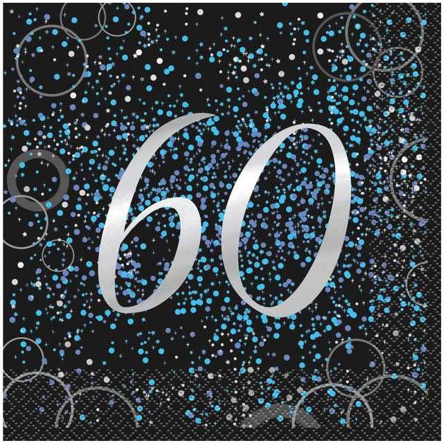 """Serwetki """"60 urodziny - Glitz"""", UNIQUE, niebieskie, 33 cm, 16 szt"""