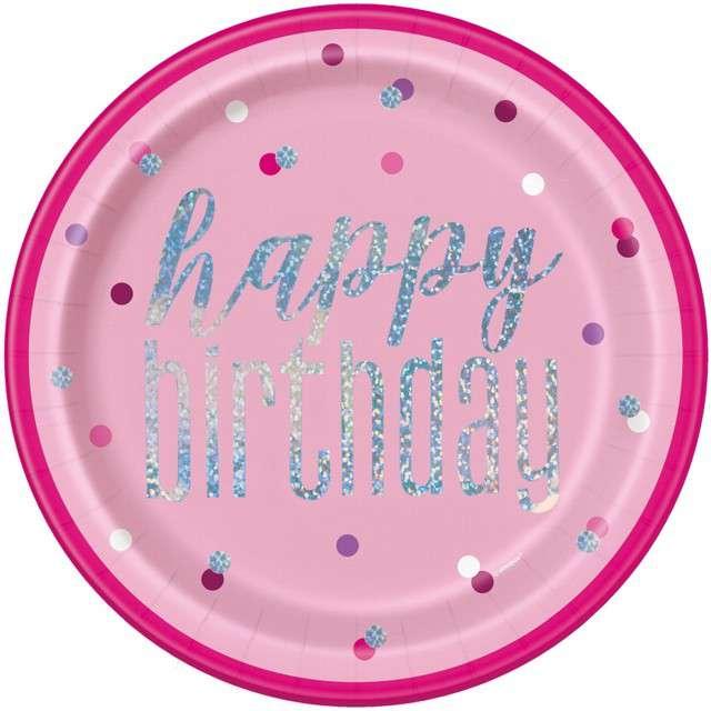 """Talerzyki papierowe """"Happy Birthday- Glitz Grochy"""", różowe, UNIQUE, 23 cm, 8 szt"""