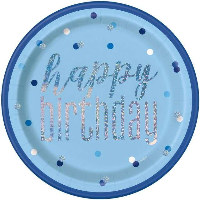 """Talerzyki papierowe """"Happy Birthday- Glitz Grochy"""", niebieskie, UNIQUE, 23 cm, 8 szt"""