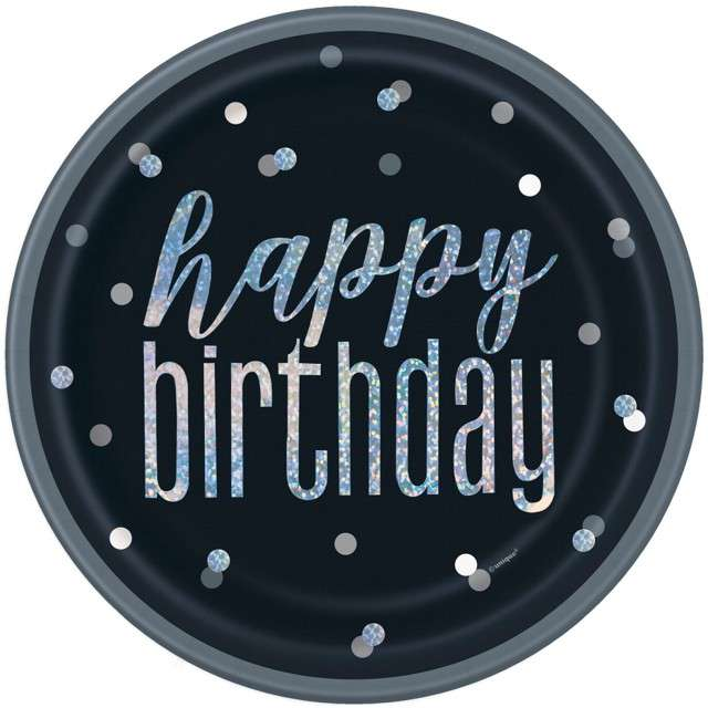 """Talerzyki papierowe """"Happy Birthday- Glitz Grochy"""", czarne, UNIQUE, 23 cm, 16 szt"""