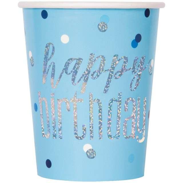 """Kubeczki papierowe """"Happy Birthday - Glitz Grochy"""", niebieskie, UNIQUE, 266 ml, 8 szt"""