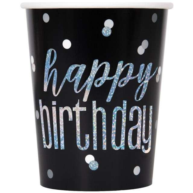 """Kubeczki papierowe """"Happy Birthday - Glitz Grochy"""", czarne, UNIQUE, 266 ml, 8 szt"""