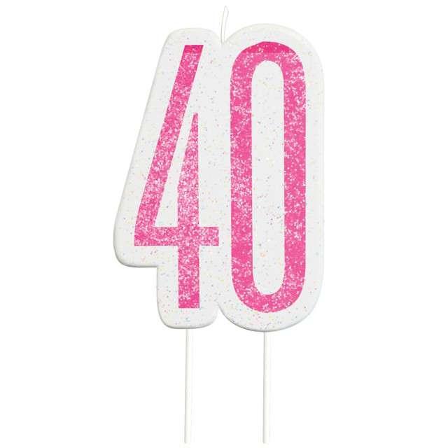 """Świeczka na tort """"40 Urodziny - Glitz"""", różowa brokatowa, UNIQUE, 10 cm"""