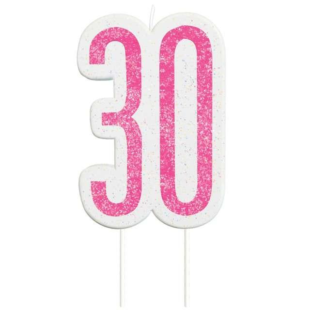"""Świeczka na tort """"30 Urodziny - Glitz"""", różowa brokatowa, UNIQUE, 10 cm"""