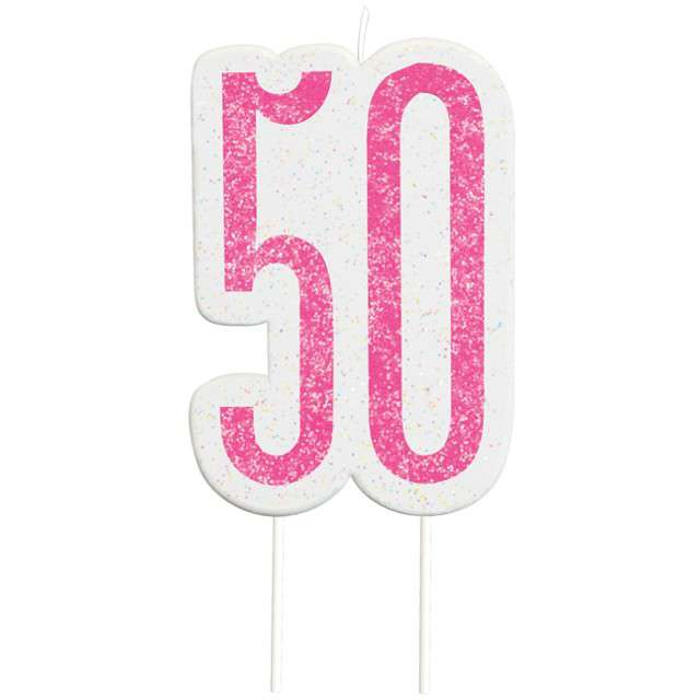"""Świeczka na tort """"50 Urodziny - Glitz"""", różowa brokatowa, UNIQUE, 10 cm"""