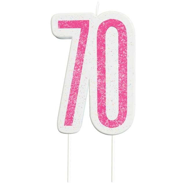 """Świeczka na tort """"70 Urodziny - Glitz"""", różowa brokatowa, UNIQUE, 10 cm"""