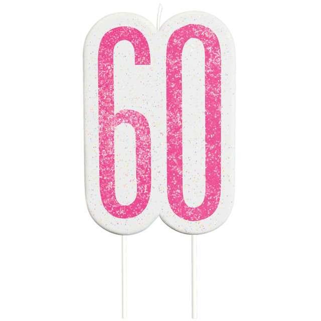"""Świeczka na tort """"60 Urodziny - Glitz"""", różowa brokatowa, UNIQUE, 10 cm"""