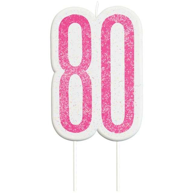 """Świeczka na tort """"80 Urodziny - Glitz"""", różowa brokatowa, UNIQUE, 10 cm"""