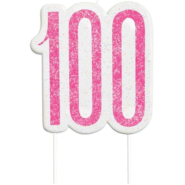 """Świeczka na tort """"100 Urodziny - Glitz"""", różowa brokatowa, UNIQUE, 10 cm"""