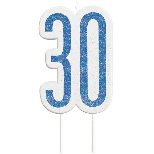 """Świeczka na tort """"30 Urodziny - Glitz"""", niebieska brokatowa, UNIQUE, 10 cm"""
