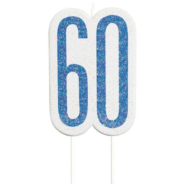 """Świeczka na tort """"60 Urodziny - Glitz"""", niebieska brokatowa, UNIQUE, 10 cm"""