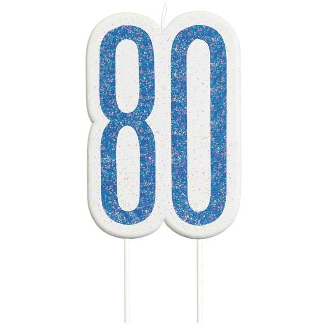 """Świeczka na tort """"80 Urodziny - Glitz"""", niebieska brokatowa, UNIQUE, 10 cm"""