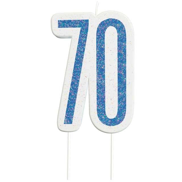 """Świeczka na tort """"70 Urodziny - Glitz"""", niebieska brokatowa, UNIQUE, 10 cm"""